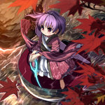 1girl afloat ahoge autumn_leaves barefoot blush closed_mouth full_body glowing glowing_weapon highres japanese_clothes kimono leaf_print legs_apart long_sleeves looking_afar outdoors purple_hair red_eyes river rock sash shope solo standing sukuna_shinmyoumaru tareme touhou water weapon wide_sleeves