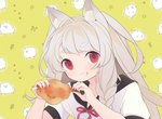 1girl animal_ears azur_lane bird braid chicken chicken_(food) chicken_leg commentary_request food fried_chicken gyusukiudon lowres meat nail_polish red_eyes red_nails sailor_collar short_eyebrows side_braid silver_hair solo thick_eyebrows wolf_ears wolf_girl yuudachi_(azur_lane)