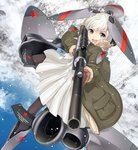 1girl :d aiming bangs blue_sky blush brown_legwear cloud coat day dress eyebrows_visible_through_hair fur-trimmed_coat fur-trimmed_sleeves fur_trim green_coat grey_eyes gun holding holding_gun holding_weapon mecha_musume military nanaroku_(fortress76) open_clothes open_coat open_mouth original outdoors pantyhose pleated_dress red_star round_teeth russian_text scope silver_hair sky smile snow snowing solo star teeth translation_request upper_teeth v-shaped_eyebrows weapon weapon_request white_dress