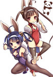 2girls :d ahoge alice360 animal_ears azur_lane bangs bare_shoulders black_legwear breasts brown_eyes brown_hair bunny_ears cleavage cleavage_cutout eyebrows_visible_through_hair fighting_stance fur-trimmed_jacket fur_trim hair_rings hairband hairpods highres jacket leotard long_hair long_sleeves looking_at_viewer medium_breasts multiple_girls ning_hai_(azur_lane) off_shoulder open_mouth panda pantyhose parted_lips ping_hai_(azur_lane) puffy_long_sleeves puffy_sleeves purple_eyes purple_footwear purple_hair purple_leotard red_leotard shoes simple_background small_breasts smile standing standing_on_one_leg stirrup_legwear thighhighs twintails v-shaped_eyebrows very_long_hair white_background white_hairband white_jacket