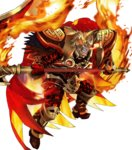1boy armor beard black_armor cape facial_hair feathers fire fire_emblem fire_emblem_heroes full_body gauntlets glowing glowing_eye greaves helmet highres holding holding_weapon horned_helmet maeshima_shigeki male_focus molten_rock official_art orange_hair red_cape red_eyes scar scar_across_eye scythe shoulder_armor solo surtr_(fire_emblem_heroes) teeth transparent_background weapon