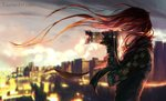 1girl blurry blurry_background camera city closed_mouth commentary english_commentary fingerless_gloves fisheye_placebo gloves green_eyes highres long_hair profile red_hair robin_(fisheye_placebo) scarf solo standing watermark web_address wenqing_yan