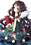 1girl angel_wings blue_eyes bracelet brown_hair choker dress flower from_behind green_dress hair_ornament holly holly_hair_ornament jewelry light_smile long_hair looking_back nail_polish necklace original red_legwear ring sitting solo sparkle tearfish thighhighs very_long_hair wings
