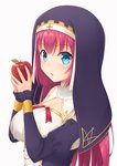 1girl apple avila_(oshiro_project) blue_eyes breasts eyebrows_visible_through_hair food fruit holding holding_fruit large_breasts long_hair looking_at_viewer midoriyama_soma nun oshiro_project oshiro_project_re red_hair simple_background solo upper_body white_background