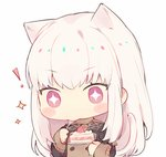 ! +_+ 1girl animal_ears blush_stickers cake cat_ears cat_tail commentary eating fire_emblem fire_emblem:_three_houses food garreg_mach_monastery_uniform holding holding_plate kvlen long_hair long_sleeves lysithea_von_ordelia pink_eyes plate simple_background solo symbol_commentary tail uniform white_background white_hair