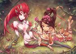 2girls arm_support ass barefoot beancurd breasts brown_eyes brown_hair cleavage dark_skin flower high_ponytail highres league_of_legends long_hair looking_at_viewer multiple_girls nidalee red_hair smile tail thighhighs thighs wide_hips yellow_eyes zyra