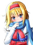 1girl alice_margatroid bangs blonde_hair blue_dress blue_eyes blue_scarf blush breasts capelet closed_mouth dress eyebrows_visible_through_hair hairband head_tilt highres lolita_hairband long_sleeves looking_at_viewer medium_breasts oshiaki sash scarf short_hair smile solo touhou upper_body