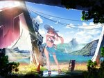 1girl alternate_costume bangs bare_arms bikini blue_bikini blue_nails blue_ribbon blue_sky blurry blurry_foreground blush bolt_action breasts brown_hair cleavage closed_eyes cloud commentary_request day depth_of_field eyebrows_visible_through_hair facing_viewer feathers flower full_body girls_frontline gun hair_between_eyes hair_ribbon hair_rings hat hat_flower hat_ribbon highleg highleg_bikini highres ihobus large_breasts lifebuoy long_hair m1903_springfield m1903_springfield_(girls_frontline) nail_polish navel o-ring object_namesake outdoors power_lines puddle reflection ribbon rifle ruins sandals sarong scenery see-through sidelocks skindentation sky smile solo stomach sun_hat sunlight swimsuit tying_hair water weapon white_hat wind