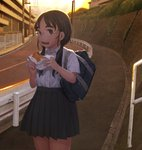 1girl bag commentary_request eating eyebrows food food_on_face glasses hamburger highres looking_at_viewer minamohajime original pleated_skirt scenery school_bag school_uniform shirt skirt solo sunset thick_eyebrows twintails