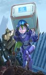 1boy 2girls alien armor body_armor boots building carrying choujikuu_yousai_macross cloud commentary commentary_request container damaged debris dirty dress energy_cannon giantess gloves green_hair gunpod hair_over_one_eye hat helmet inui's_meltran inui_(jt1116) long_hair lying maclone macross mecha meltrandi multiple_girls piggyback purple_eyes purple_hair rescue ruins science_fiction shirt shorts size_difference sketch teardrop torn_clothes u.n._spacy united_nations variable_fighter very_long_hair vf-1 vf-1a window zentradi