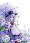1girl artist_name blue_hair bow dated dress eyebrows_visible_through_hair feet_out_of_frame flower food frilled_skirt frills frown fruit hair_between_eyes hand_on_own_knee hat highres hinanawi_tenshi holding holding_umbrella hydrangea knees_up layered_dress leaf ling_mou long_hair looking_at_viewer peach puffy_short_sleeves puffy_sleeves red_bow red_eyes short_sleeves simple_background sitting skirt solo touhou umbrella wet wet_clothes wet_hair white_background