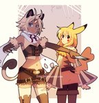 2girls animal_ears antenna_hair bangs belt blonde_hair blue_eyes boots breasts brown_eyes brown_footwear brown_gloves brown_shorts buckle cat_ears cat_tail cleavage closed_mouth coin cowboy_shot dav-19 dress expressionless gen_1_pokemon gloves grey_background hair_between_eyes knee_boots koban long_hair long_sleeves looking_at_viewer medium_breasts meowth midriff multiple_girls navel outstretched_arm pantyhose parted_bangs personification pikachu pikachu_ears pikachu_tail pokemon pokemon_tail scarf short_hair short_shorts shorts signature single_letter smile spikes standing striped_sleeves tail watermark web_address white_scarf