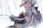 1boy 1girl anastasia_(fate/grand_order) bangs blue_eyes closed_mouth commentary_request crown doll fate_(series) from_side fur_trim hairband holding holding_doll houhou_(black_lack) jewelry kadoc_zemlupus long_hair long_sleeves mini_crown open_mouth outdoors profile short_hair silver_hair smile snow snowing white_hair winter winter_clothes yellow_eyes yellow_hairband