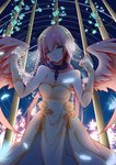 1girl android angel angel_wings bare_shoulders breasts chain cleavage collar collarbone dress green_eyes highres hq_(876704940) ikaros large_breasts long_hair looking_at_viewer multicolored_hair open_mouth pink_hair red_hair robot_ears solo sora_no_otoshimono twintails very_long_hair wings
