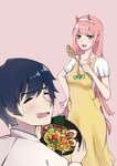 1boy 1girl apron bangs bigroll black_hair blush bowl breasts candy collared_shirt commentary_request couple darling_in_the_franxx eyebrows_visible_through_hair fangs food green_eyes hair_ornament hairband hand_on_hip hetero highres hiro_(darling_in_the_franxx) holding holding_bowl holding_food honey horns long_hair long_sleeves looking_at_another medium_breasts noodles oni_horns open_mouth pink_hair pink_shirt ramen red_horns shirt short_hair short_sleeves sweatdrop white_hairband white_shirt wing_collar wooden_spoon yellow_apron zero_two_(darling_in_the_franxx)