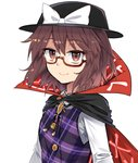 1girl black_cape black_hat bow brown_eyes brown_hair cape commentary_request e.o. eyebrows_visible_through_hair fedora glasses hair_between_eyes hat hat_bow long_sleeves looking_at_viewer plaid plaid_vest purple_vest red-framed_eyewear shirt short_hair simple_background smile solo touhou upper_body usami_sumireko vest white_background white_bow white_shirt