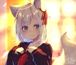 1girl animal_ear_fluff animal_ears backlighting bangs black_sailor_collar black_shirt blue_eyes blurry blurry_background blush breasts chita_(ketchup) closed_mouth collarbone commentary_request depth_of_field eyebrows_visible_through_hair fingernails fox_ears fox_girl green_eyes hair_ribbon hands_on_own_chest hands_up highres long_sleeves looking_at_viewer medium_breasts multicolored multicolored_eyes neckerchief original red_neckwear red_ribbon ribbon sailor_collar school_uniform serafuku shirt short_eyebrows signature silver_hair sleeves_past_wrists smile solo tail_raised thick_eyebrows