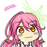 1girl :3 blush_stickers character_name chibi commentary cross gyate_gyate halo highres jibril_(no_game_no_life) long_hair magic_circle multicolored multicolored_eyes no_game_no_life orange_eyes pink_hair sections smile solo symbol-shaped_pupils transparent_background wing_ears yellow_eyes