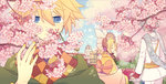1girl 2boys blonde_hair blue_eyes blue_hair bonnet bow bridge building cherry_blossoms closed_eyes day expressionless flower hair_bow headdress holding_hands japanese_clothes kagamine_len kagamine_rin kaito long_sleeves male_focus multiple_boys nail_polish outdoors patterned_clothing petals scarf short_hair sky tree vocaloid yellow_nails yoshiki