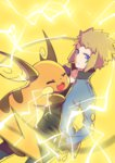 1boy blonde_hair blue_eyes blurry collarbone denji_(pokemon) depth_of_field electricity fang hands_in_pockets highres hug looking_at_viewer pokemon pokemon_(game) raichu tail transistor