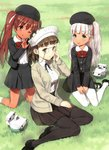 3girls :d ;q absurdres anchor_hair_ornament bangs beret black_dress blunt_bangs breasts brown_eyes brown_hair dress eyebrows_visible_through_hair flower glasses grass green_eyes hair_flower hair_ornament hair_ribbon hat headdress highres jiji kantai_collection kneeling large_breasts lawn libeccio_(kantai_collection) long_hair maestrale_(kantai_collection) multiple_girls official_art one_eye_closed one_side_up open_mouth outdoors red_ribbon ribbon roma_(kantai_collection) scan scan_artifacts school_uniform shirt silver_hair sitting_on_ground smile thighhighs tongue tongue_out twintails wavy_hair white_dress white_legwear white_ribbon white_shirt