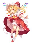 1girl :d ascot blonde_hair bloomers crystal eyebrows_visible_through_hair fang flandre_scarlet full_body hat hat_ribbon knee_blush looking_at_viewer mob_cap open_mouth paragasu_(parags112) puffy_short_sleeves puffy_sleeves red_eyes red_footwear red_ribbon red_skirt red_vest ribbon shirt shoes short_sleeves side_ponytail simple_background skirt skirt_set smile socks solo touhou underwear upskirt vest white_background white_bloomers white_legwear white_shirt wings wrist_cuffs yellow_neckwear