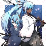 2girls blue_eyes blue_hair breasts dark_skin eyepatch horn japanese_clothes long_hair looking_at_viewer mochimochi_(xseynao) multiple_girls open_mouth polearm ponytail seori_(xenoblade) short_hair simple_background spear tokiha_(xenoblade) weapon white_hair xenoblade_(series) xenoblade_2