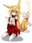 1girl animal_ears blonde_hair blush detached_sleeves fox_ears green_eyes grin haik highres kokonoe_tsubaki long_hair original paw_pose smile solo tail thighhighs