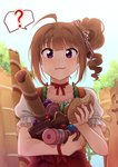 1girl ? ahoge blush brown_hair closed_mouth collarbone drill_hair eyebrows_visible_through_hair food food_request holding holding_food idolmaster idolmaster_million_live! idolmaster_million_live!_theater_days kamille_(vcx68) looking_at_viewer puffy_short_sleeves puffy_sleeves purple_eyes red_skirt short_hair short_sleeves side_drill skirt smile solo speech_bubble spoken_question_mark yokoyama_nao