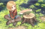 1girl axe black_legwear blonde_hair boots brown_eyes brown_footwear child closed_mouth collared_shirt crossed_legs day fate/grand_order fate_(series) flannel grass long_sleeves looking_away looking_to_the_side monosenbei outdoors overall_shorts pantyhose paul_bunyan_(fate/grand_order) shirt short_hair sitting solo tree_stump