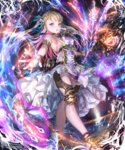1girl armlet blonde_hair blue_ribbon bracelet breasts brown_eyes dress floating_hair hair_ribbon holding holding_staff irua jewelry long_hair looking_at_viewer magic medium_breasts parted_lips ribbon shingeki_no_bahamut sideboob sleeveless sleeveless_dress solo staff standing white_dress