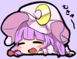 1girl :d =_= bangs blunt_bangs blush_stickers chibi commentary crescent crescent_moon_pin dress fukutchi full_body hat lavender_background lying mob_cap mukyuu on_stomach open_mouth patchouli_knowledge purple_dress purple_hair simple_background smile solo touhou translated