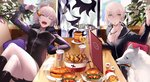 2girls arm_support artoria_pendragon_(all) commentary_request crossed_legs cup dog doughnut eating fate/grand_order fate_(series) food french_fries fur_trim hamburger hand_up highres indoors jeanne_d'arc_(alter)_(fate) jeanne_d'arc_(fate)_(all) looking_to_the_side miniskirt mouth_hold multiple_girls one_eye_closed pale_skin saber_alter skirt sword table tsukimoto_aoi warna weapon white_hair wicked_dragon_witch_ver._shinjuku_1999 yellow_eyes