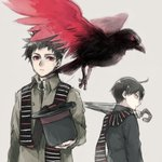 2boys ahoge asuna_(doruru-mon) beak bird birdmen black_hair black_hat black_neckwear black_wings brown_background character_request closed_mouth commentary_request hat highres holding holding_umbrella looking_back multicolored multicolored_wings multiple_boys necktie red_eyes red_wings scarf simple_background spiked_hair standing striped striped_scarf talons top_hat umbrella wings