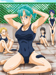 4girls adjusting_hair android_18 aqua_eyes aqua_hair blonde_hair breasts bulma character_request chin_rest cleavage dated dragon_ball dragon_ball_z fence karasuma_rauru mouth_hold multiple_girls sitting swimsuit tying_hair