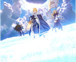 3girls ahoge armor armored_dress bare_shoulders black_legwear blonde_hair boots braid breasts cape capelet chain cloud day dress elbow_gloves excalibur fallstreak_hole fate/apocrypha fate/grand_order fate/stay_night fate_(series) faulds flag fur_trim gauntlets gloves glowing glowing_sword glowing_weapon grass greaves green_eyes hand_on_hilt headpiece highres hill long_hair medium_breasts multiple_girls official_art purple_eyes ruler_(fate/apocrypha) saber shield shielder_(fate/grand_order) short_hair single_braid sky sunlight sword takeuchi_takashi thigh_strap thighhighs weapon