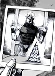 1boy abs blurry card dio_brando evil_smile gloves greyscale headband heart highres holding house_of_cards jojo_no_kimyou_na_bouken male_focus monochrome muscle nobita photo_(object) smile solo_focus stardust_crusaders turtleneck v wristband