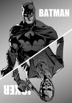2boys absurdres batman batman_(series) cape character_name dc_comics formal glasgow_smile gloves greyscale grin highres makeup mask monochrome multiple_boys necktie oosawara_sadao smile suit superhero the_joker weapon