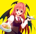 15_(tooka) 1girl :d >:d blush bowl coffee_cup demon_wings egg food head_wings koakuma long_hair looking_at_viewer necktie noodles open_mouth ramen red_eyes red_hair smile solo soup touhou tray wings yellow_eyes
