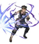 1boy armor belt black_hair boots brown_eyes brown_gloves collarbone dark_skin dark_skinned_male fire_emblem fire_emblem_echoes:_shadows_of_valentia fire_emblem_heroes full_body gloves gray_(fire_emblem) headband highres holding holding_sword holding_weapon kawasumi_mahiro knee_boots looking_away male_focus official_art open_mouth pants shoulder_armor sleeveless solo sword transparent_background weapon