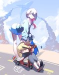 2girls :> asui_tsuyu bearthemighty boku_no_hero_academia casual crossover eyelashes gloves goggles goggles_on_head ground_vehicle hair_over_one_eye highres limited_palette little_witch_academia long_hair looking_to_the_side moped motor_vehicle multiple_girls purple_hair road scooter shoes side_ponytail sitting smile sneakers sucy_manbavaran sweater whale