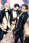 1girl 3boys adachi_tooru alternate_hairstyle black_eyes black_hair bow bowtie choker doujima_nanako doujima_ryoutarou dress earrings evening_gown formal frilled_dress frills grey_eyes hair_up hand_in_pocket hand_on_own_head holding_hands jewelry looking_at_viewer multiple_boys narukami_yuu persona persona_4 saeuchobab shawl_lapels short_hair strapless strapless_dress tuxedo white_dress white_hair
