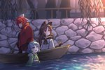 3girls animal_ears blue_bow blue_eyes blue_hair blush boat bow brown_hair canal commentary drill_hair frills grass_root_youkai_network green_kimono hair_bow head_fins highres imaizumi_kagerou japanese_clothes kibisake kimono long_hair long_sleeves mermaid monster_girl multiple_girls obi off_shoulder open_mouth partially_submerged red_eyes red_hair red_skirt sash sekibanki short_hair skirt smile touhou wakasagihime water watercraft wolf_ears