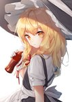 1girl :/ apron blonde_hair bottle braid closed_mouth cola commentary_request dress expressionless eyebrows_visible_through_hair from_behind gloves hair_ribbon hajin hat holding holding_bottle kirisame_marisa long_hair looking_at_viewer looking_back puffy_short_sleeves puffy_sleeves red_ribbon ribbon shirt short_sleeves side_braid simple_background single_braid solo suspenders touhou upper_body waist_apron white_apron white_background white_gloves witch_hat yellow_eyes