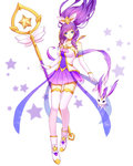 1girl alternate_costume blue_eyes boots elbow_gloves floating_hair gloves hair_ornament highres janna_windforce kezi league_of_legends long_hair looking_at_viewer magical_girl pointy_ears purple_hair skirt smile solo staff star star_guardian_janna thighhighs