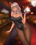 1girl animal_ears bar bottle breasts bunny_ears bunnysuit chandelier covered_nipples cup damegane dark_skin drinking_glass hand_on_table highres large_breasts looking_at_viewer lounge original pantyhose silver_hair solo tan thick_thighs thighs wine_bottle wine_glass yellow_eyes