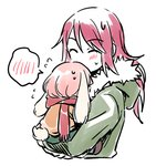 2girls ^_^ animal_ears bang_dream! bangs blush bunny_ears carrying child closed_eyes flying_sweatdrops fur-trimmed_hood green_jacket holding hood hood_down hooded_jacket jacket kemonomimi_mode long_hair lowres multiple_girls pink_hair re_ghotion red_hair red_scarf scarf simple_background sketch spoken_blush sweatdrop time_paradox udagawa_tomoe uehara_himari upper_body white_background younger