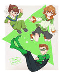 1girl 2boys arm_up bodysuit brown_eyes brown_hair clenched_hand crossed_arms darrell_stoker floating glasses goggles hairband hyakujuu-ou_golion looking_at_viewer multiple_boys namesake pidge_gunderson ponzu_(beetle_burner) reverse_trap round_glasses scarf series_connection shoes short_hair shorts smile sneakers square star suzuishi_hiroshi triangle voltron:_legendary_defender voltron_force