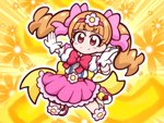 1girl >:) aisaki_emiru aura bangs blunt_bangs blush_stickers bow bowtie brown_hair chibi closed_mouth commentary_request elbow_pads floral_background flower frilled_skirt frills full_body gloves guardias hair_bow hair_flower hair_ornament hairband hugtto!_precure jumping knee_pads long_hair magical_girl pose precure puffy_short_sleeves puffy_sleeves red_bow red_eyes shirt shoes short_sleeves skirt smile solo twintails v-shaped_eyebrows white_shirt