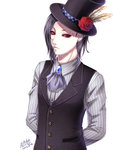 1boy achikoako arms_behind_back black_hair black_sclera dress_shirt flower formal hat hat_feather lip_piercing looking_at_viewer male_focus piercing red_eyes rose shirt signature solo tokyo_ghoul top_hat uta_(tokyo_ghoul) waistcoat white_background